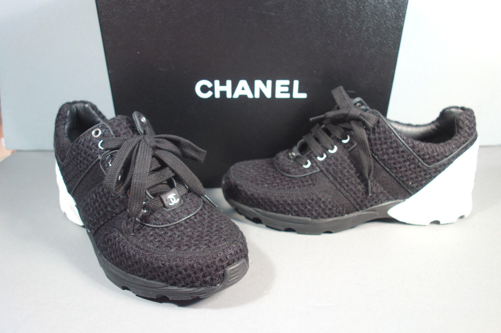 CHANEL 36.5 6 Black White Tweed Leather Lace up SNEAKERS Tennis ... 077526dc0d6
