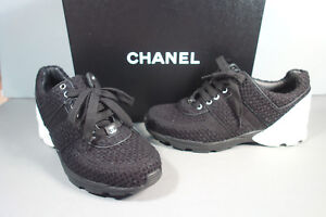 a8183c53bd67 CHANEL 36.5 6 Black White Tweed Leather Lace Up Sneakers Tennis ...