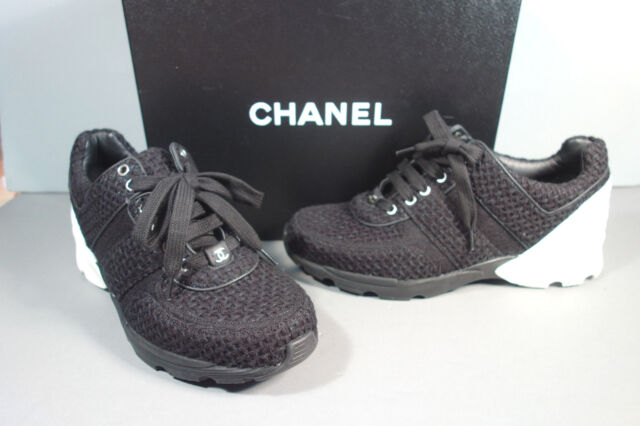 CHANEL 36.5/6 Black White Tweed Leather