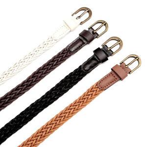 Women-Skinny-Knitted-Woven-Braided-Waistband-Soft-Fabric-Comfort-Waist-Belt