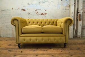 2 Seater Plush Mustard Velvet Fabric