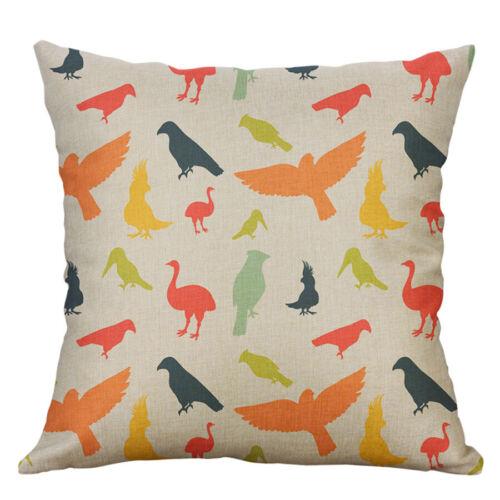 """18/"""" Bird Print Cotton Linen Pillow Case Cushion Cover Sofa Home Decor"""