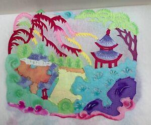 Quatre-uvres-illustrees-en-couleur-Papier-decoupe-Artiste-Wang-Hongchen