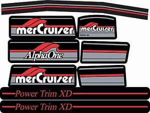 MERCRUISER THE MOST COMPLETE TRS BLUE DECALS SET W//GRAY RAMS STICKER SET