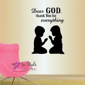 Wall Vinyl Decal Dear God Thank You Quote Boy Girl Praying Kids