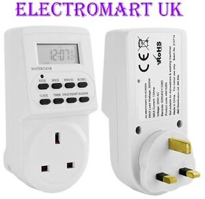 PLUG IN DIGITAL LCD TIME TIMER SWITCH 24 HOUR 7 DAY MAINS 13A