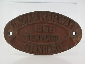 RA09-PLACA-FERROVIARIA-INDIAN-RAILWAY-1966-TEXMACO-STANDARD