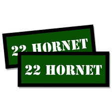 """22 HORNET Ammo Can 2x GREEN Labels Ammunition 3""""x1.15"""" stickers decals 2 pack"""