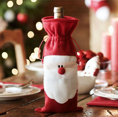 Christmas Red Santa Wine Bottle Bag Cover Dinner Table Xmas Party Home Decor Kid