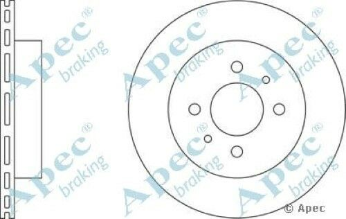 1x OE Quality Replacement Front Axle Apec Vented Brake Disc 4 Stud 257mm Pair