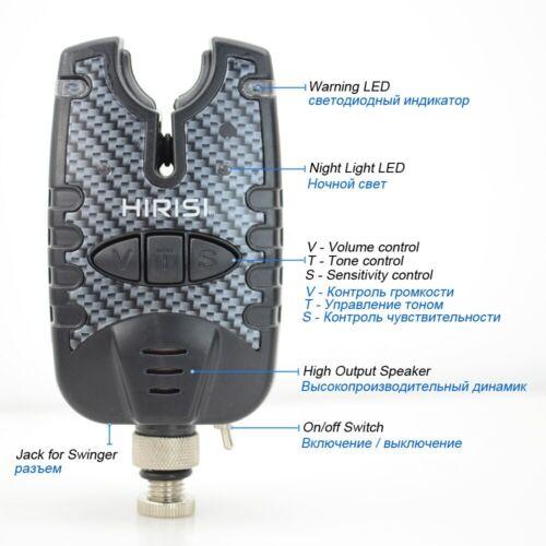 2 x Carp fishing bite alarms bite indicator with Blue LED Sound Tone Adjustable