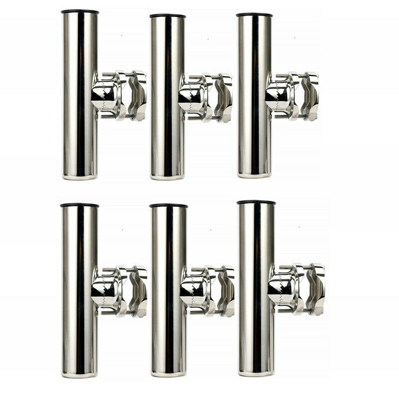 6X Stainless Steel Rail Mount Clamp on Fishing Rod Holder for Rails 1-1 4  to 2