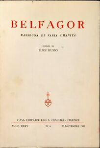 BELFAGOR - ANNO XXXV - N. 6 - OLSCHKI 1980