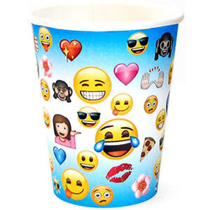 Image Is Loading EMOJI 9oz PAPER CUPS 8 Birthday Party Supplies