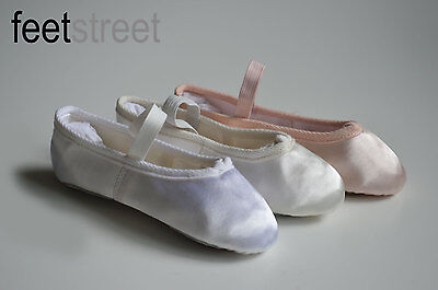 White Pink Ivory Satin Ballet Shoes with PRE-SEWN  Elastic Ch 8 to Ad 8.5