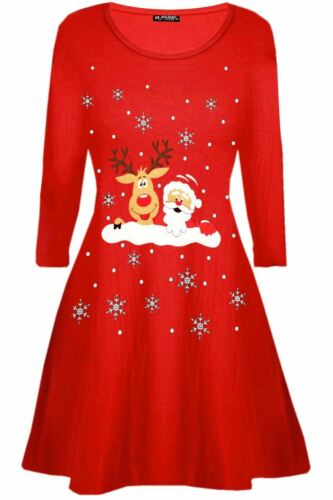 Donne Ragazze Natale Natale Renna Pupazzo Di Neve Muro Naughty Ragazze Swing Mini Abito