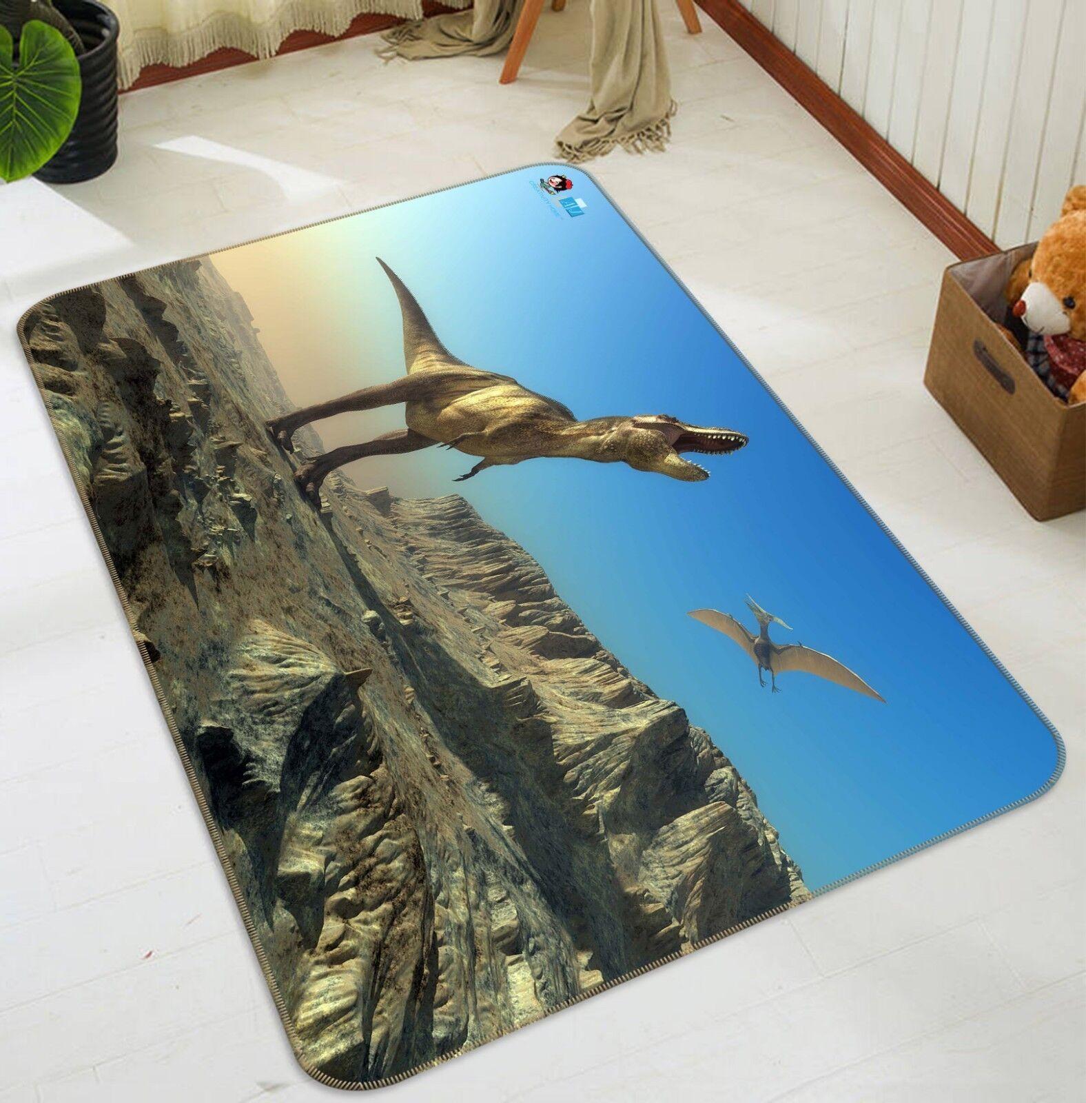 3D Howling Dinosaurs 2 Non Slip Rug Mat Room Mat Quality Elegant Photo Carpet AU