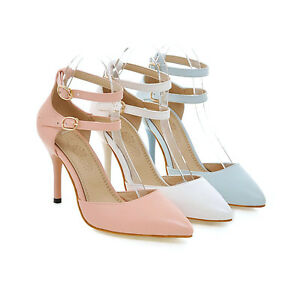 Womens-Synthetic-Leather-Shoes-High-Heels-Pumps-Ankle-Strap-Sandals-AU-Size-s194