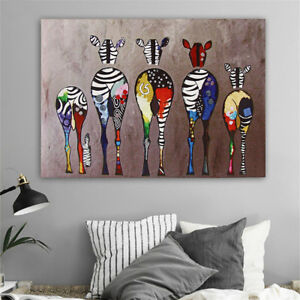 Colorful-Animals-Zebra-Art-Canvas-Oil-Painting-Picture-Print-Home-Decor-Unframed