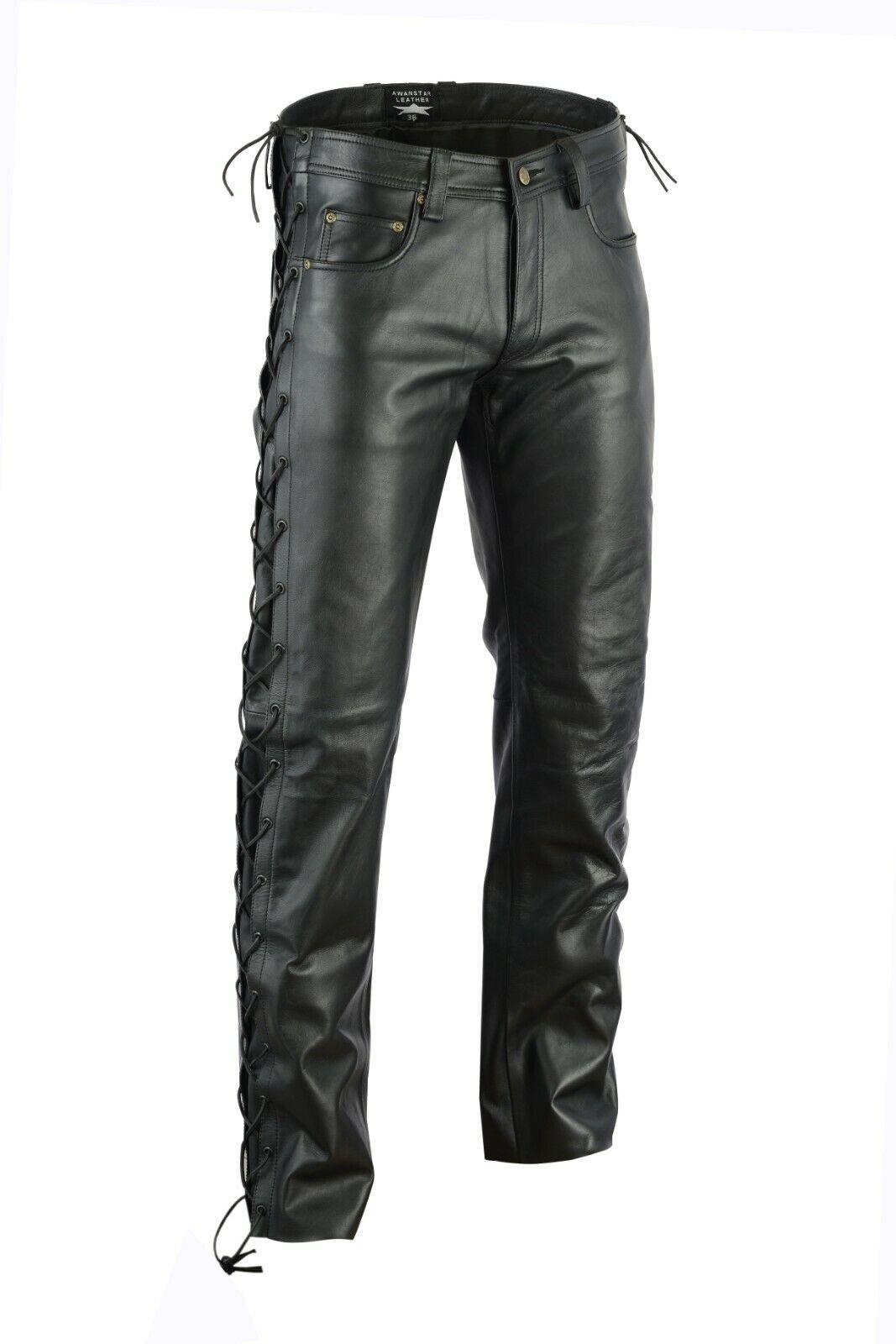 Awanstar zum schnürn Lederhose 5 Pockets Jeans leather Pants Motorrad leder hose