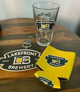 NEW-Lakefront-Brewery-Gift-Set-Pint-Glass-Cup-Keychain-Sticker-Koozie-Milwaukee
