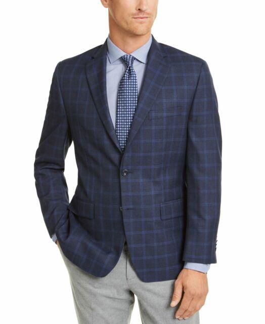 Michael Kors Mens Sports Coat Blue Size 56 Classic-Fit Windowpane $295 #158