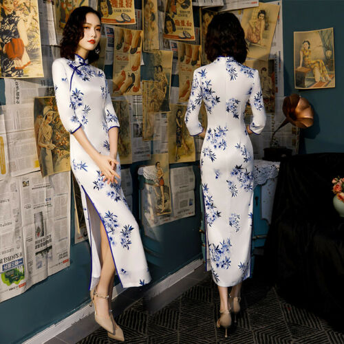 Women Long Cheongsam Chinese Traditional Qipao Evening Dress Prom dress floral
