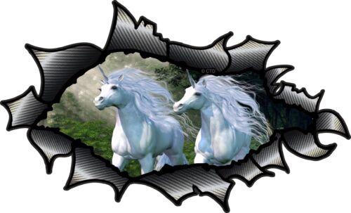 Carbon Fibre Fiber Ripped Open Torn Metal /& Running Unicorn Fantasy car sticker