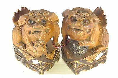 Pair of Antique Chinese Multicolored Wood Carved Statue Figure of Animal Foo Dog