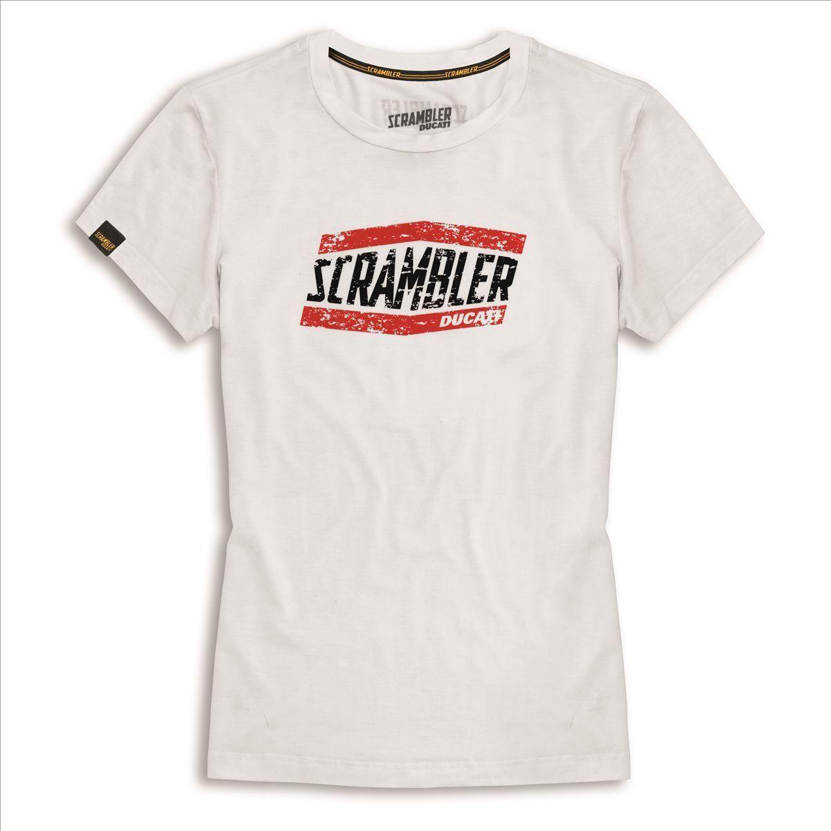 Ducati T-Shirt Scrambler Moab Bianco Maglietta Donna Nuovo Originale