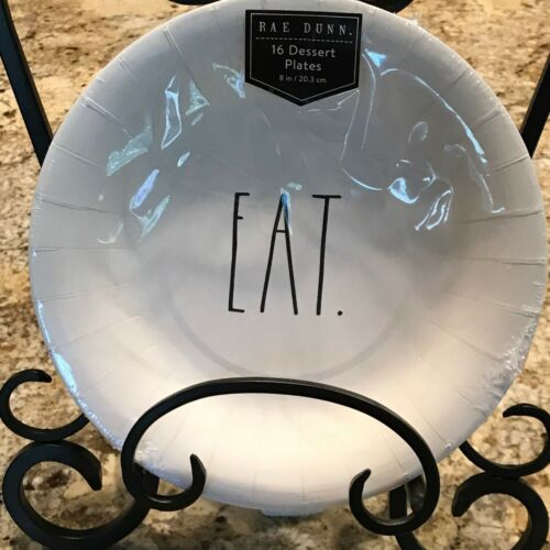 RAE DUNN Paper Products EAT Dessert Plates 16 Total 8 Inches  Brand New
