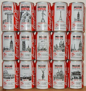 COCA-COLA-15-cans-OLYMPIC-GAMES-CITIES-1992-set-from-HOLLAND-33cl