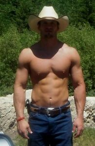 5d9f92f223e38 Image is loading Shirtless-Muscular-Male-Cowboy-Huge-Pectorial-Chest-Hot-
