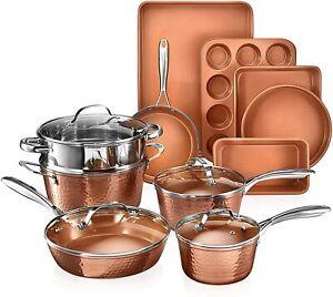 Gotham Steel Hammered Copper 15 Piece Nonstick Cookware Set - As Seen on TV