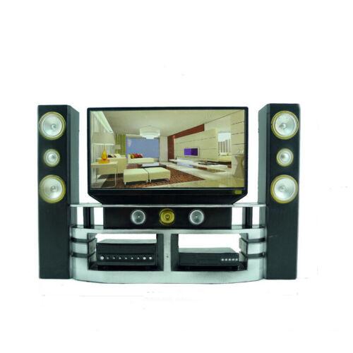 1 Pcs Mini Hi-Fi 1:6 TV Home Theater Cabinet Set Combo For  Doll JKHWC