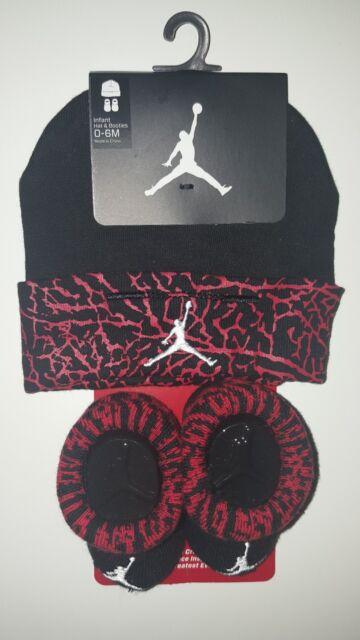 Nike Air Jordan Girls or Boys Infant Hat /& Booties Set Size 0-6 Months