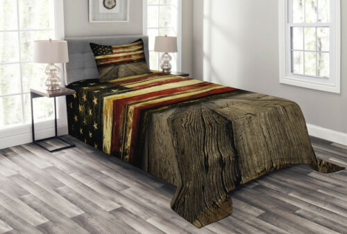 United States Quilted Bedspread /& Pillow Shams Set Vintage Flag Wood Print