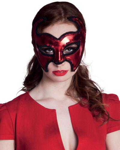 LADIES RED DEVIL VALENTINES SUPERHERO MASQUERADE EYE MASK HALLOWEEN FANCY DRESS