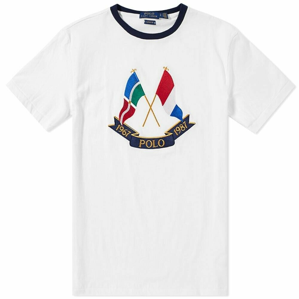 389cf99b20e New New New Mens Polo Ralph Lauren Crossed Flags 87 White Embroidered Tee T  Shirt M BNWT 996a1a