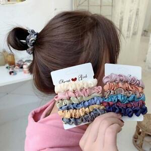 Glaenzendem-Stoff-Haar-Haargummis-Samt-elastische-Haargummis-Band-Seile