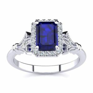 Details about 14 K Gold 1 1/4Ct Emerald Cut Sapphire, Halo Diamond Vintage  Ring in 3 Colors