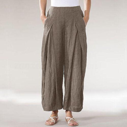 ZANZEA Women Casual Plain Elastic Waist Wide Legs Harem Pants Baggy Trousers