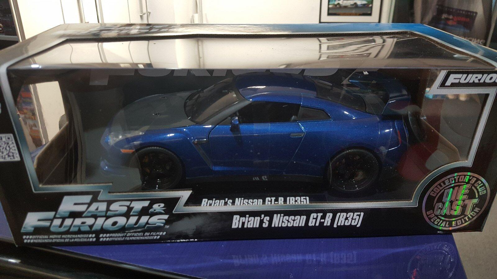 Jada 1 18 Rápido y Furioso 7-Brian 's Nissan GT-R R35-blu