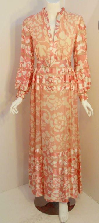 CEIL CHAPMAN 1960s Pink and White Silk Chiffon Go… - image 2