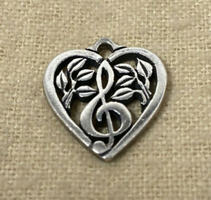 Retired James Avery Large French Heart Scroll Sterling Silver Pendant