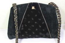 Vintage LANVIN Black Velvet Flat Shoulder Bag Clutch Bag France