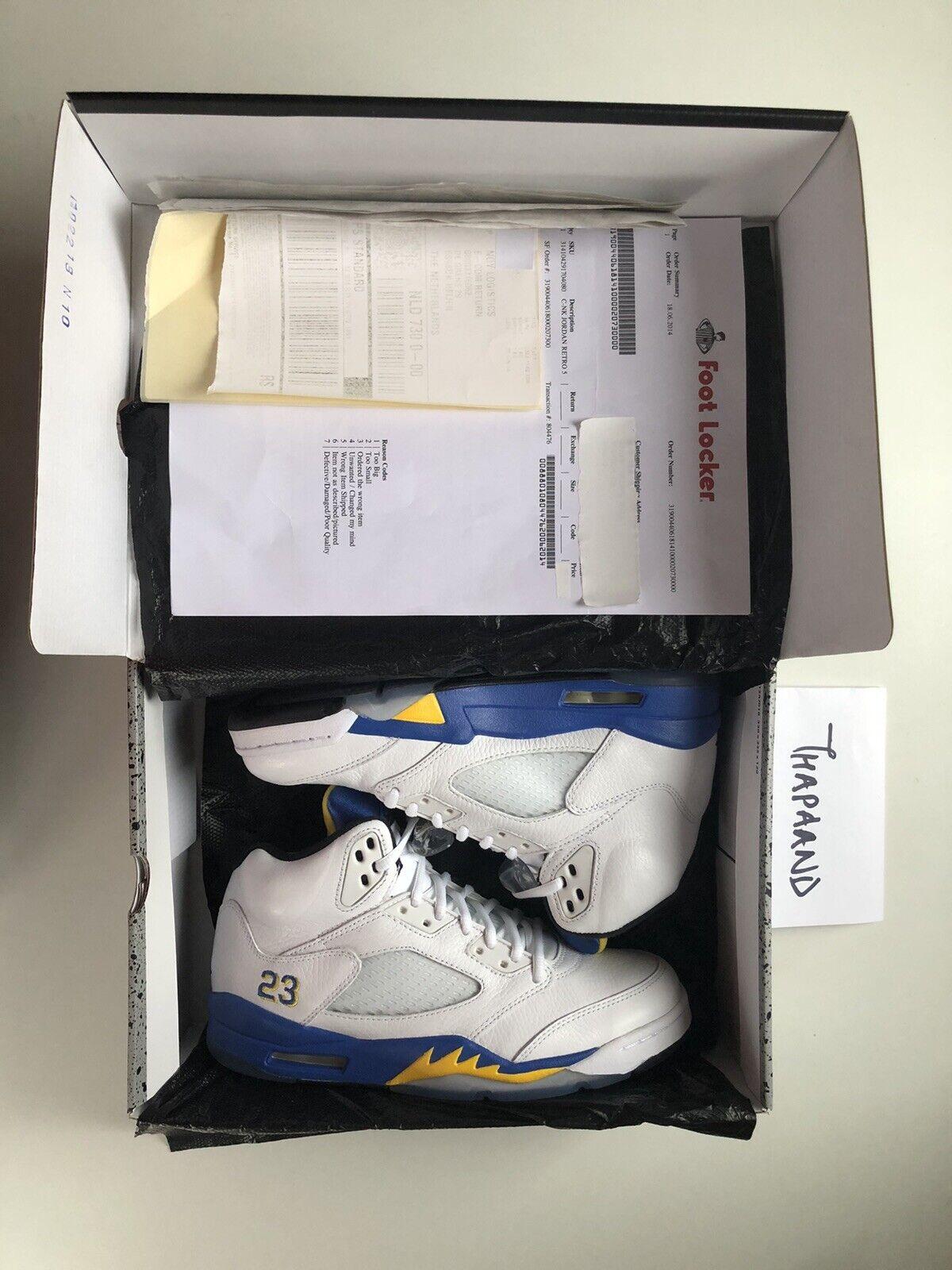 Nike Air Jordan 5 V White Laney Yellow Blue size 7 Retro