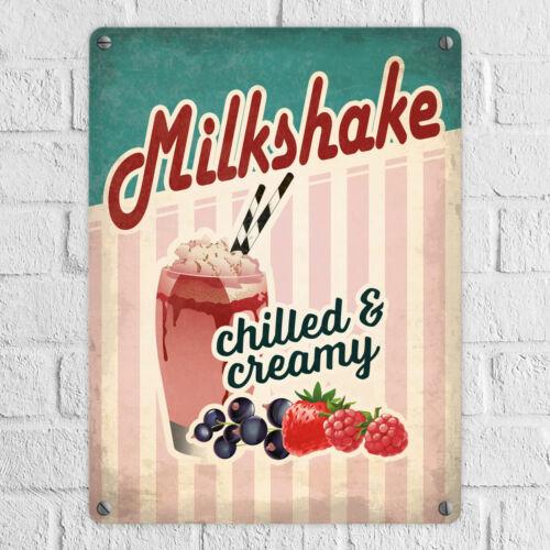 Metallschild Milkshake Blechschild American Diner Classics Milkshake