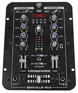 Rockville-RDJ2-2-CHANNEL-DJ-MIXER-con-USB-cue-Monitor-talkover-4-ingressi-di-linea