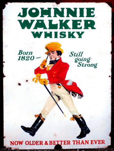 Retro metal Aluminium Sign vintage Johnnie Walker Whiskey man cave Bar// Pub